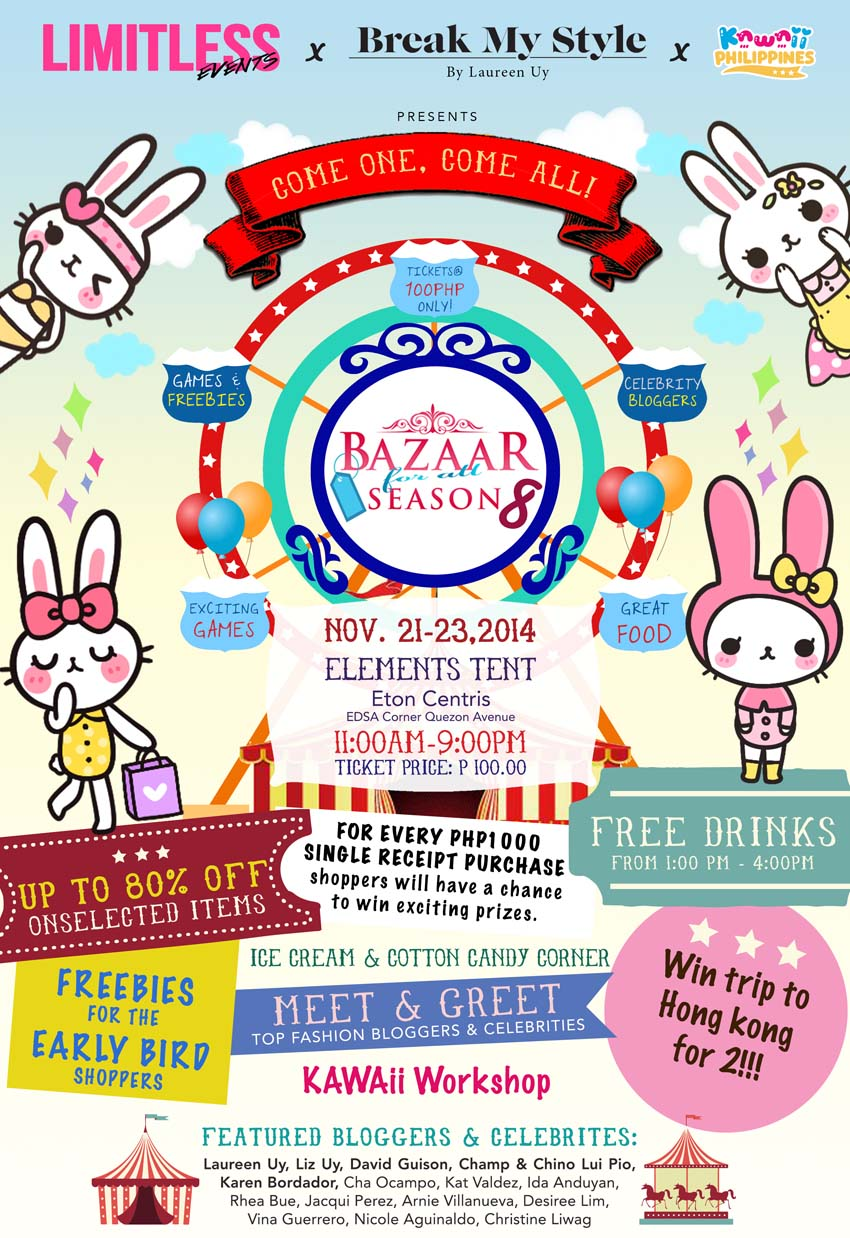 This is it!!! The most awaited bazaar this month is happening on November 21-23! I've been a part of Bazaar For All Season since their launch and now that it's their 8th season, I'm now officially part of it- not just selling clothes and having my own booth, but I'm also part organizing it too. We have so many things lined up for you: great discounts, free drinks, lots of freebies and exciting games plus YOU GET TO WIN A TRIP TO HONG KONG FOR TWO! Yes, you read it right. Before I tell you about the mechanics, let me excite you more on what's about to happen on Bazaar For All Season 8 on my booth: I'll be selling accessories for as low as P20-P150 only, I'm selling my clothes from P100-P500 only and will be selling my shoes from P200-P1000 only! My sister Liz will be selling her preloved clothes as well and to be honest, I want to buy them all myself! Haha. Be sure to go to our booths okay? Also, since it's carnival themed- we'll be having cotton candy and ice cream stands around the tent to make it extra special! BFAS bloggers, including me, also made a very funny prank video to spread the word about the upcoming bazaar. Watch it below and I hope you guys like it. I really had an awesome time doing it but it also scared the hell out of me too!!!