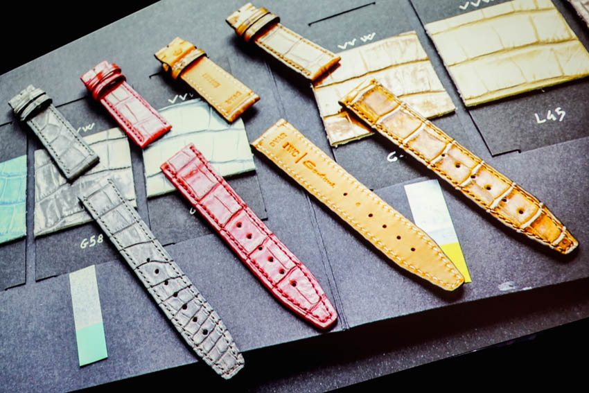 Bright coloured straps were designed and created in IWC's Portofino collection in 1985 and they combined it with their 1989 polished straps, creating wonderful straps for their new collection from Santoni. They're all hand-polished and hand-colored up to 10 times. Everything is made in Italy and they have around 20 people focused on straps alone.