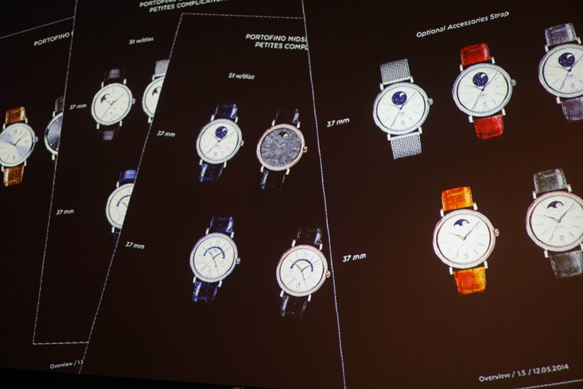He also mentioned that the new designs components they made for the 2014 collection are smaller cases (37mm) keeping the harmony and shape of the Portofino design DNA. They put more stones on the bezel (one row of white diamonds) for it to be more attractive and they also introduced the Mother of Pearl dials to the portofino range so it can be more elegant and feminine. They also used thinner straps to fit the wrists of many women out there. You can check out some of the watches HERE.