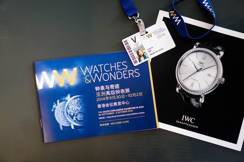Watches and Wonders is a three day exhibition in Hong Kong that is held once a year. Now on it's second year, they've definitely gotten more hype and buzz from watch enthusiasts all over the world. It's my first time attending such an event and I must say, I'm now more interested in knowing about the creations and mechanisms of watches. I was invited by IWC to attend Watches and Wonders 2014 at the Hong Kong Convention and Exhibition Centre (which was just beside the Grand Hyatt Hotel) and spent most of my time inside their lovely booth. Yes, they spelled my surname wrong because my handwriting is so terrible! Haha.