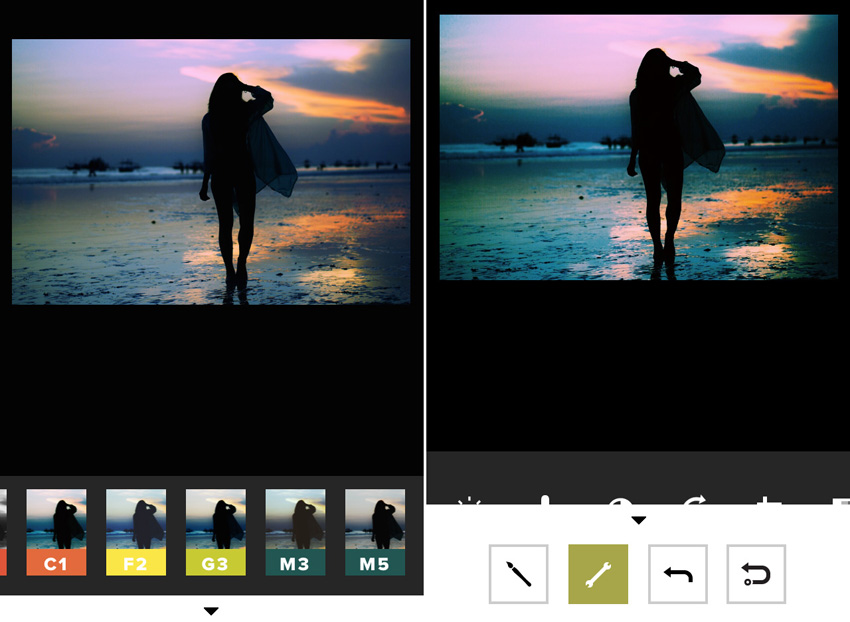 "After I use Snapseed, I transfer the edited photo to VSCO Cam app just to edit it a little bit more. I do this especially with my beach photos. Once you open the app, you'll see a lot of filters below where you can choose from. For this particular photo, I didn't choose any filters but clicked the ""tool"" button so I can edit it manually."