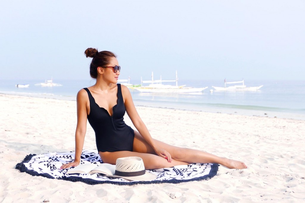 Black scallop maillot swimsuit